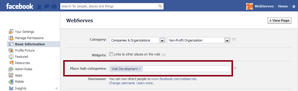 Place Sub-categories for Facebook Graph Search