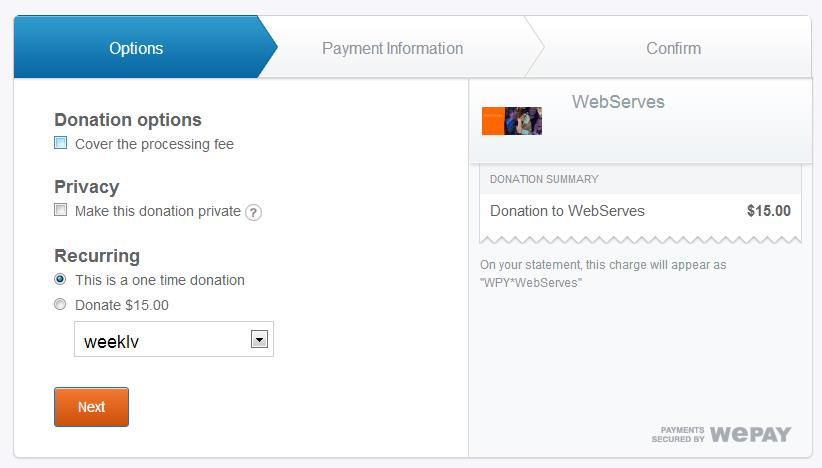 Donation payment process - Donor view